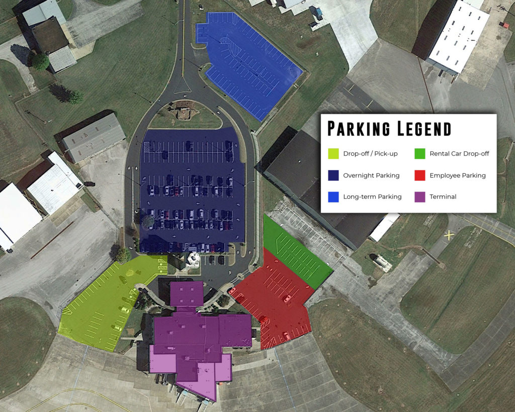 Owensboro-Daviess County Regional Airport Parking Map with legend